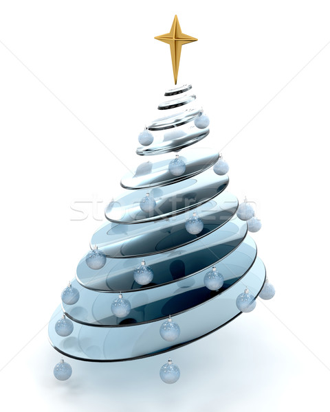 Abstract kerstboom 3d render boom star christmas Stockfoto © kjpargeter