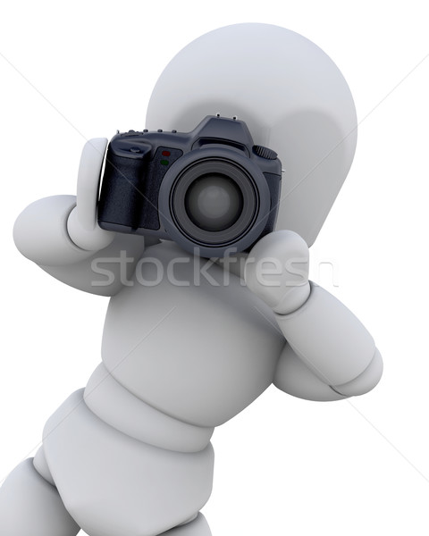 3D man with digital camera Stock photo © kjpargeter