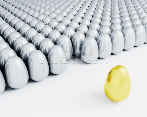 Kitűnik a tömegből tömeg 3d render egy aranytojás áll Stock fotó © kjpargeter