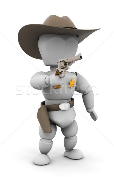 şerif 3d render işaret tabanca kişi erkek Stok fotoğraf © kjpargeter