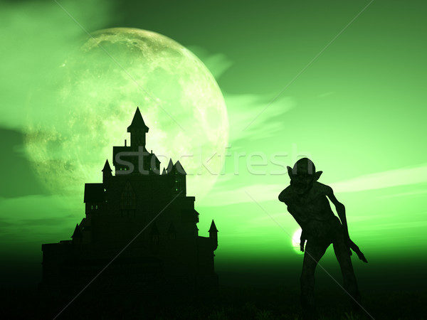 3D demon with spooky castle Stock photo © kjpargeter