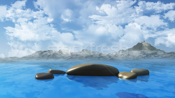 Ocean landscape with rocks and mountains Stock photo © kjpargeter