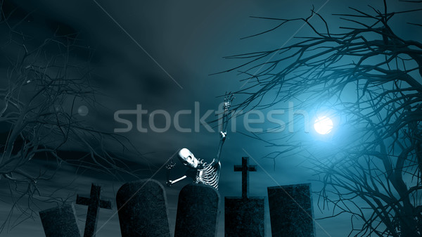 Halloween background with spooky trees and skeleton Stock photo © kjpargeter