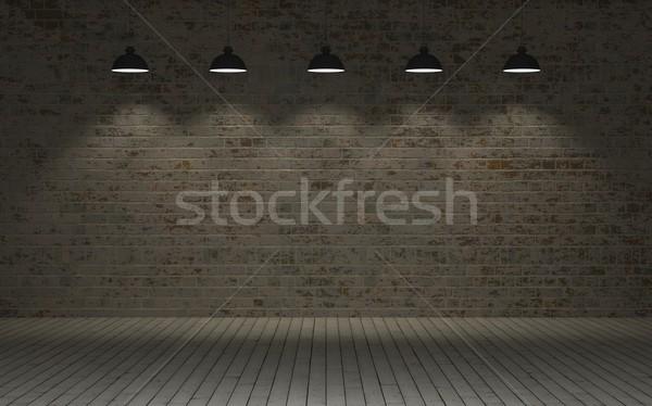Védtelen téglafal 3d render fal kosz Stock fotó © kjpargeter