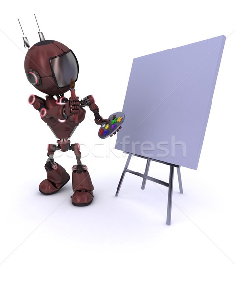 Android with paint brush and palette  Stock photo © kjpargeter