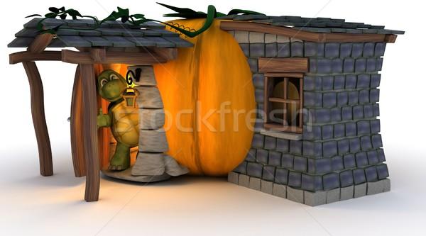 Halloween Pumpkin Cottage Stock photo © kjpargeter