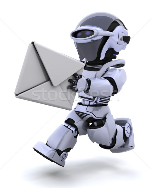 running robot with envelope Stock photo © kjpargeter