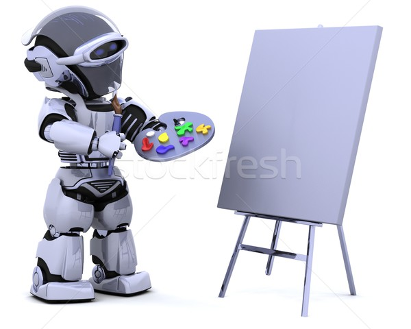 robot with pallette and paint brush Stock photo © kjpargeter