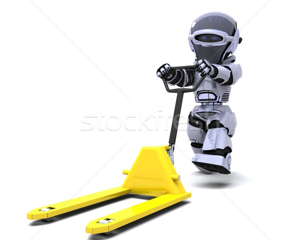 Robot with pallet truck Stock photo © kjpargeter