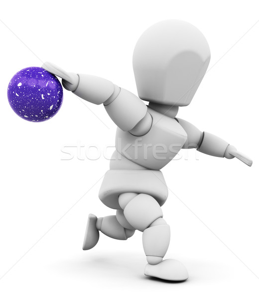 Person halten Bowlingkugel 3d render einer Frau Stock foto © kjpargeter