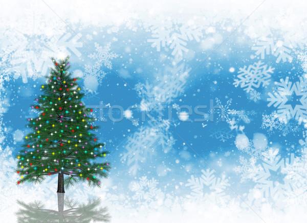 Foto d'archivio: Albero · di · natale · luci · fiocco · di · neve · neve · Natale