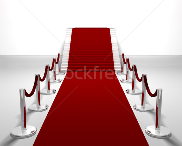 Tapis rouge rendu 3d up escaliers résumé Photo stock © kjpargeter
