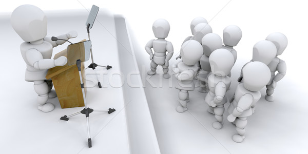 3D Man speaking to a crowd Stock photo © kjpargeter