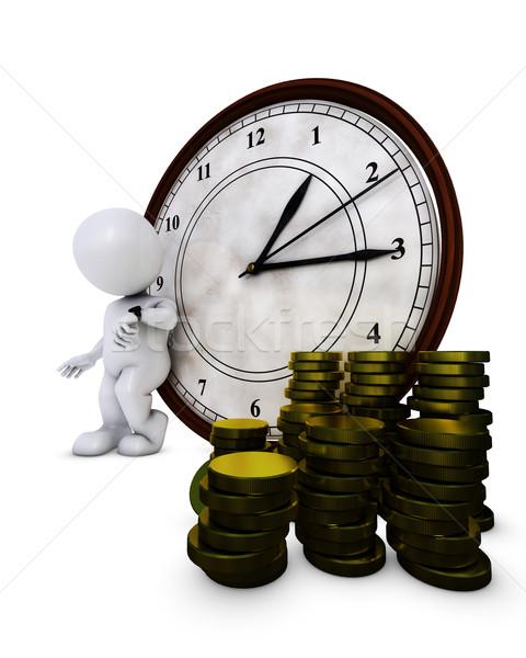 3D uomo il tempo è denaro rendering 3d Foto d'archivio © kjpargeter