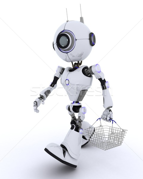 Robot with a shopping basket Stock photo © kjpargeter