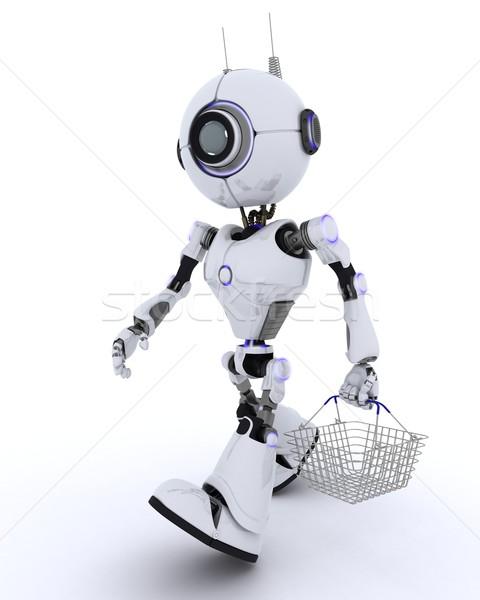 Robot bevásárlókosár 3d render férfi bolt jövő Stock fotó © kjpargeter