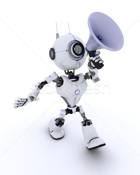 Robot with bullhorn Stock photo © kjpargeter