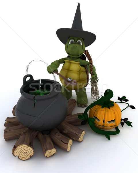 Stock photo: Tortoise witch with cauldron of eyeballs on log fire