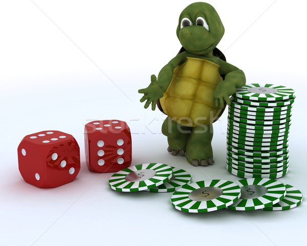 tortoise with casino dice and chips Stock photo © kjpargeter