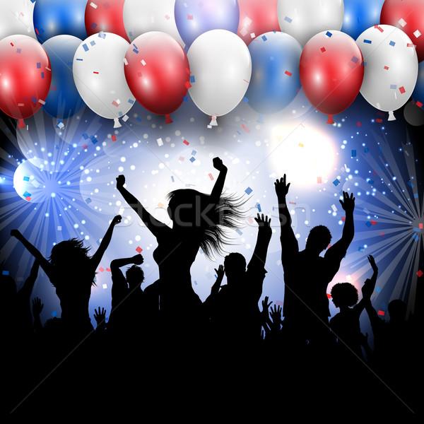 Negyedike nap buli sziluett tömeg zászló Stock fotó © kjpargeter