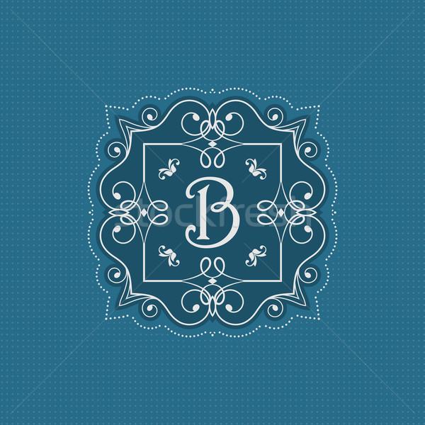 Decoratief monogram stijlvol ontwerp brief logo Stockfoto © kjpargeter