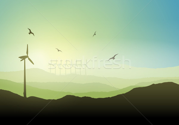 Wind turbine landscape Stock photo © kjpargeter