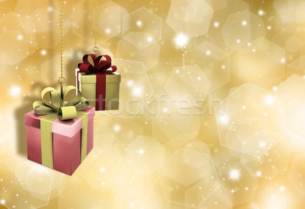 クリスマス 贈り物 絞首刑 金 雪 星 ストックフォト © kjpargeter