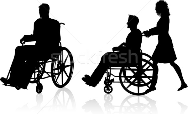 Man and woman with wheelchair Stock photo © kjpargeter