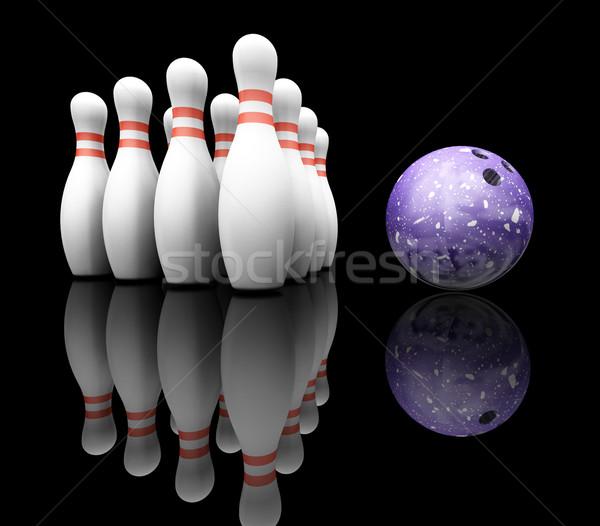 Bowling topu 3d render bowling kavram 3D yalıtılmış Stok fotoğraf © kjpargeter