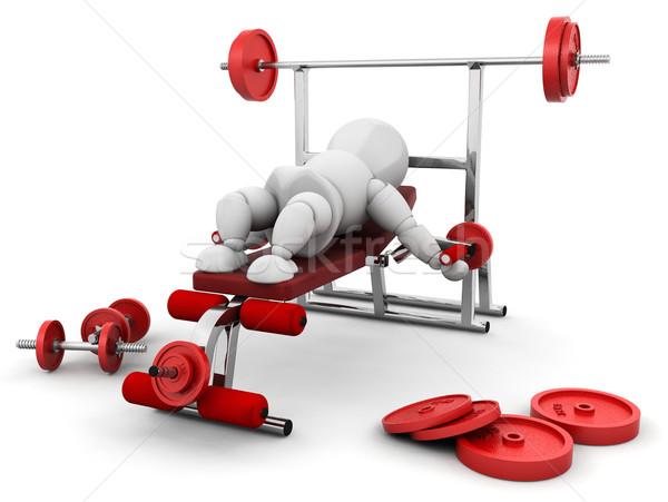 Gewichtheffen 3d render iemand gymnasium uitrusting man Stockfoto © kjpargeter