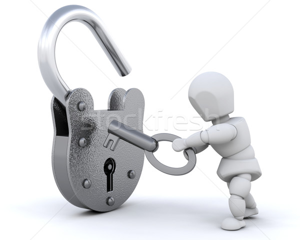Hangslot sleutel 3d render metaal slot persoon Stockfoto © kjpargeter