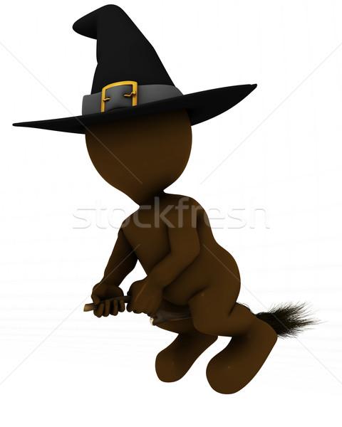 3D homem bruxa voador vassoura 3d render Foto stock © kjpargeter