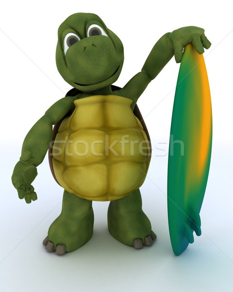 tortoise with surf board Stock photo © kjpargeter
