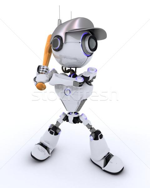 Robot gry baseball 3d człowiek przyszłości Zdjęcia stock © kjpargeter