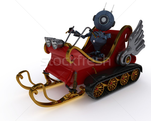 Android in snowmobile sleigh Stock photo © kjpargeter