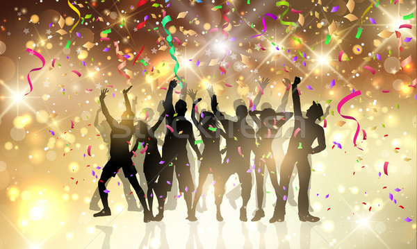Party people on a confetti and streamers background Stock photo © kjpargeter