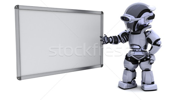 robot with blank white board Stock photo © kjpargeter