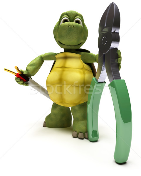 Tortoise with wire cutters Stock photo © kjpargeter