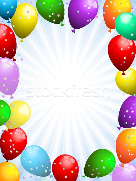 Ballons confettis fête anniversaire ruban Noël Photo stock © kjpargeter