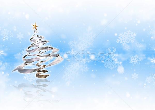 Foto d'archivio: Albero · di · natale · metallico · fiocco · di · neve · albero · neve · sfondo