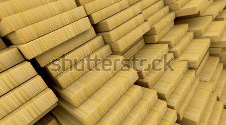 Bouwmaterialen 3d render houten hout bouw Stockfoto © kjpargeter