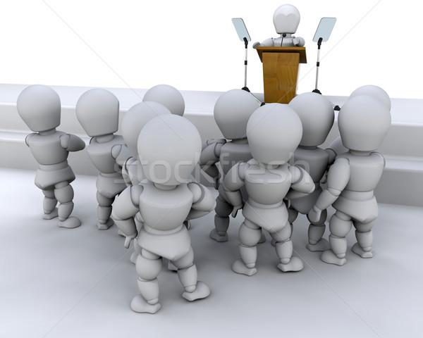 Beszél tömeg férfi férfi 3d render hangszóró Stock fotó © kjpargeter