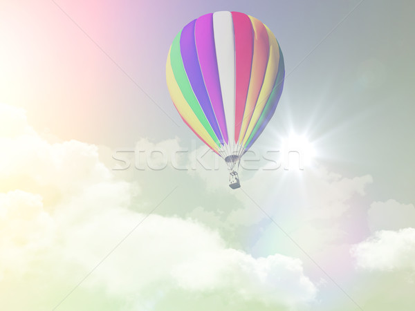 3D hot air balloon in the sky with retro effect Stock photo © kjpargeter