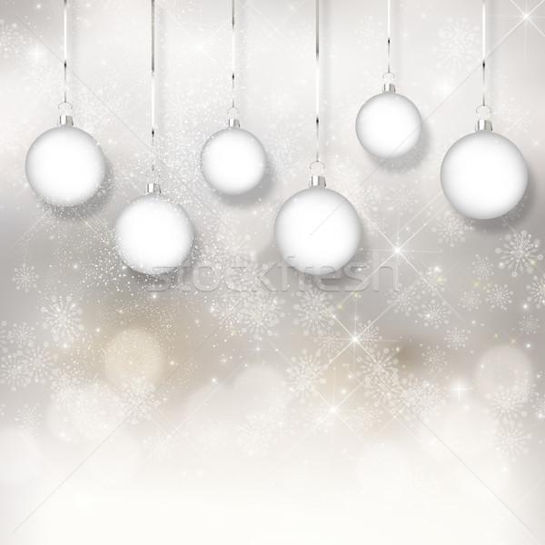 Stock fotó: Karácsony · csecsebecse · bokeh · fények · akasztás · hó