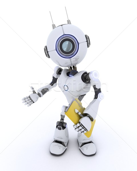 Robot with folder and documents Stock photo © kjpargeter