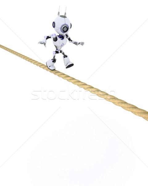 Robot strak touw 3d render man toekomst Stockfoto © kjpargeter