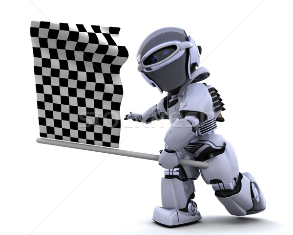 Robot waving chequered flag Stock photo © kjpargeter