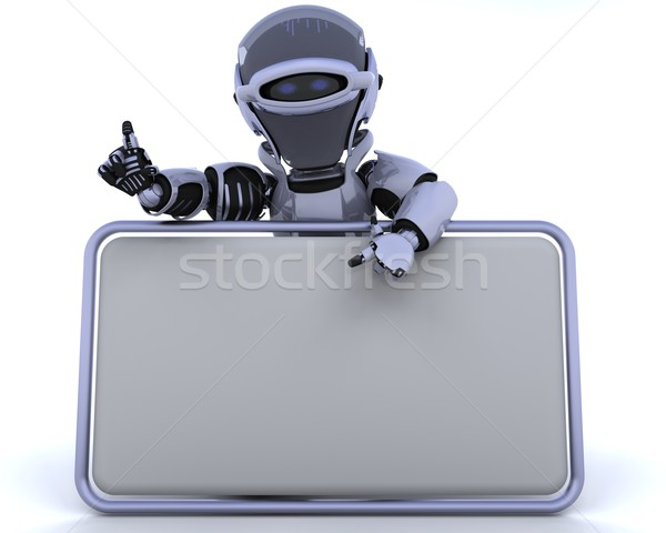 Cute robot cyborg rendu 3d signe Photo stock © kjpargeter