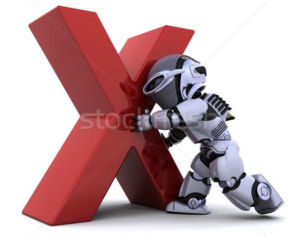 Robot szimbólum 3d render kereszt jövő életstílus Stock fotó © kjpargeter