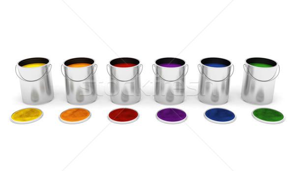 Paint tins Stock photo © kjpargeter